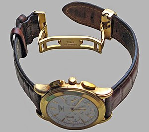 Watch strap - A leather watch strap with a butterfly closure