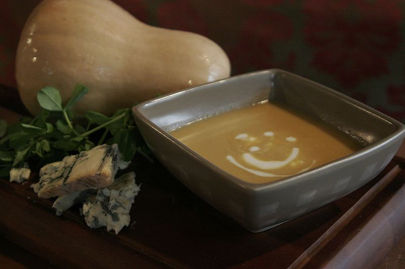 File:Butternut squash soup with cheese.jpg