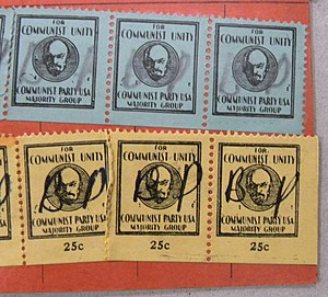 "Lovestoneites - While the weekly dues stamps of the CPMG included the slogan ""For Communist Unity,"" the reality faced by the group's members was sometimes quite different."