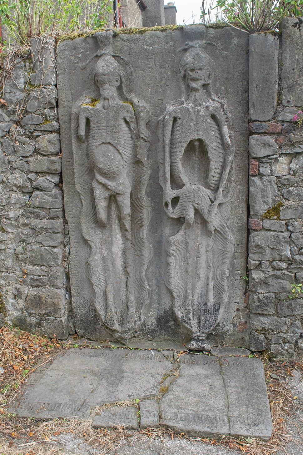 Cadaver stone in St. Peter's churchyard, Drogheda, Ireland