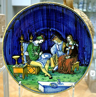 Caffagiolo Dish with maiolica painter VA 1717-1855.jpg