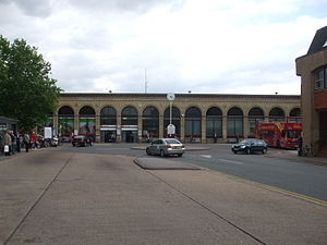Station Road, Cambridge - The roundabout at the end of Station Road, with the railway station behind.