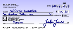 Example of a Canadian cheque.