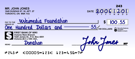 The cheque was the traditional mode of payment for a transactional account. CanadianChequeSample.png