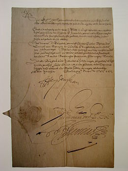 Capitulatie-overeenkomst getekend na het Beleg van Groenlo in 1627 - Treaty signed after the Siege of Grol