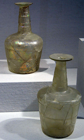 Decanter - Free-blown, wheel-cut carafes. First half of 11th century. Excavated at Teppe Madraseh, Neishapur, Iran. New York Metropolitan Museum of Art.