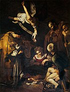 Nativity with St. Francis and St. Lawrence, Caravaggio, 1609. 268 cm × 197 cm (106 in × 78 in)