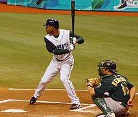 Carl Crawford at bat, May, 2005. Photo by Goog...