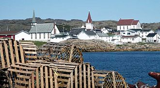 Fogo, Newfoundland and Labrador - Downtown Fogo from fishing vesesl.