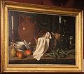 Carlo magini, natura morta con cesto di vimini, canovaccio, candela, tazza di ceramica, fiasco, frutta e piselli (modena, coll. privata).JPG