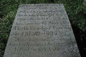 Stone slab - Multilingual grave slab: Welsh, English, French