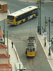 Carris tram and bus in Lisbon