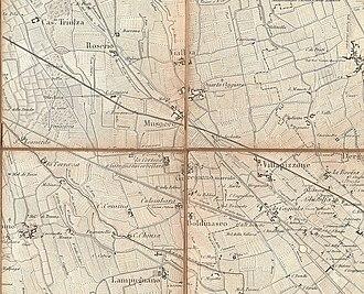 Musocco (municipality) - Image: Carta di Milano di Giovanni Brenna (1865) Musocco