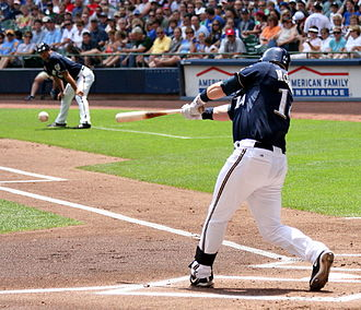 Batted ball - Casey McGehee on the Milwaukee Brewers puts a ball in play