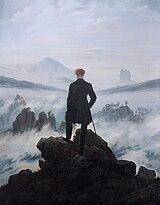 El caminante sobre el mar de nubes, pintura de Caspar David Friedrich