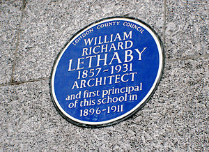 Central School of Art and Design - The blue plaque in memory of William Richard Lethaby, placed on the Central School of Arts and Crafts building in 1957