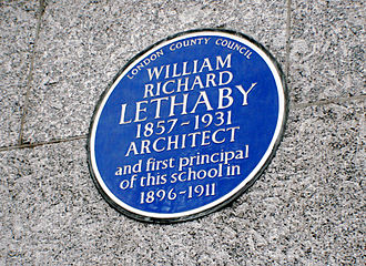Central Saint Martins - Central School of Art and Design, Southampton Row, Holborn, London WC1B 4AP: Blue Plaque for William Lethaby, first Principal of the Central School of Arts and Crafts, placed by London County Council in 1957
