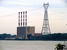 Picture of the Tracy Generating Station taken from the left bank of the Saint Lawrence River.