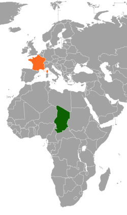 Map indicating locations of Chad and France