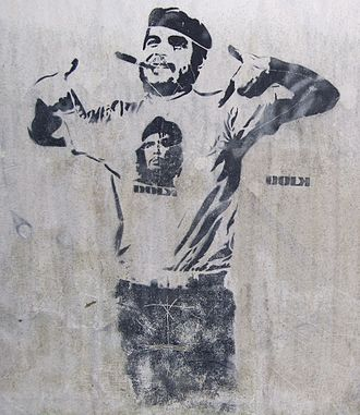 Che Guevara in popular culture - Street graffiti of Guevara wearing a Che t-shirt in Bergen, Norway.