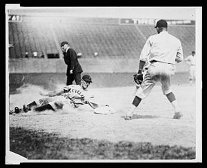 Chick Fewster - Chick Fewster slides into third base during a game in 1924, as a member of the Cleveland Indians