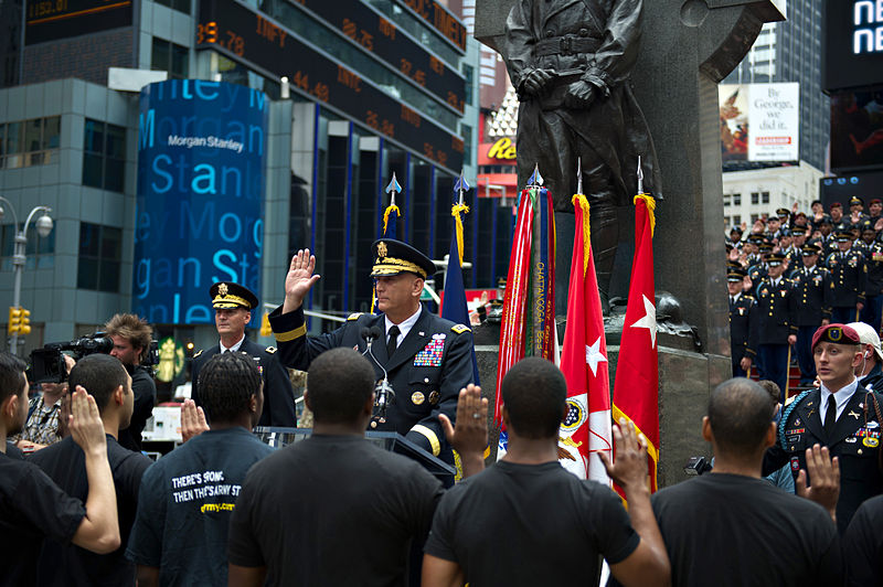 File:Chief of Staff of the Army Gen. Raymond T. Odierno, center, administers the oath of enlistment to incoming U.S. Soldiers during a ceremony in Times Square in celebration of the Army's 237th birthday 120614-A-AO884-209.jpg