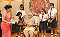 Children tying 'Rakhi' on the Prime Minister, Shri Narendra Modi's wrist, on the occasion of 'Raksha Bandhan', in New Delhi on August 29, 2015 (9).jpg