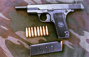 7.62×25mm Tokarev -  Chinese copy of the TT-33 called the Type 54 with 7.62×25mm ammo