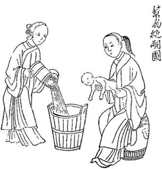 Violence against women - Chinese anti-infanticide tract circa 1800. China has a long history of son preference, which was aggravated after the enforcement of the one child policy.