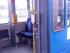 Chipkaartlezer nieuwe generatie in een tram van het GVB