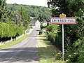 Chivres-Val (Aisne) city limit sign.JPG