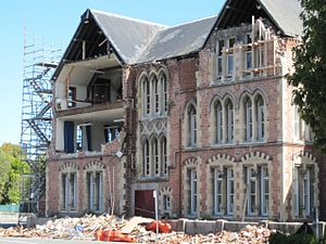 Cranmer Centre - The east façade with significant damage from the February 2011 Christchurch earthquake