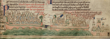 The battle of Giglio depicted in the Chronica Majora of Matthew Paris (1259) ChronicaMajora-Giglio1241-MatthewParis-HenryIII(1259).PNG