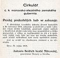 Cirkulář - prodej podezřelých hub se zakazuje - Antonín Bedřich hrabě Mitrovský.jpg