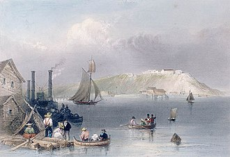 """Fort Henry, Ontario - View of Fort Henry, 1841. Hand colored engraving, """"Citadel of Kingston"""", by William Henry Bartlett (1809–1854)"""