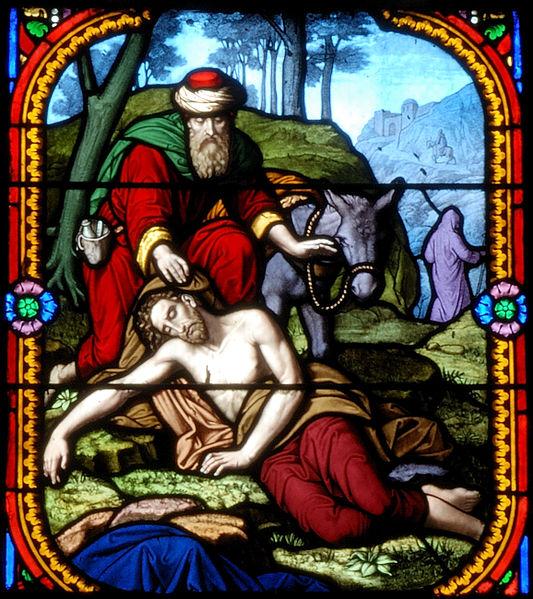 O Bom Samaritano representado em Saint Eutrope vitrail, Wikipedia enciclopédia livre