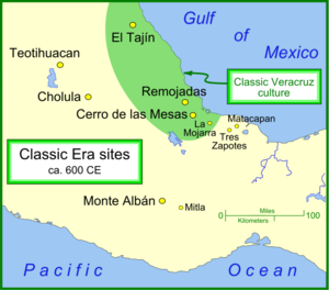 Classic Veracruz culture - The Classic Veracruz culture and other important Classic Era settlements.
