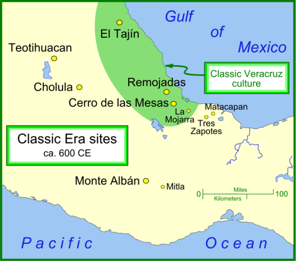 Teotihuacan and other important Classic Era settlements Classic sites 1.png