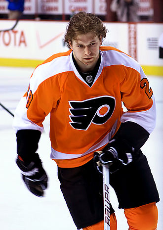 Orange (colour) - Claude Giroux of the Philadelphia Flyers hockey team (2011)