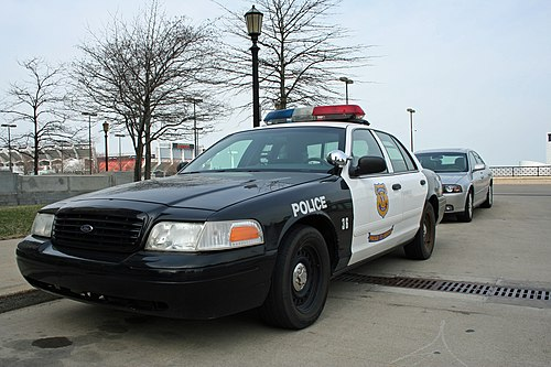 A Cleveland Police black and white parked outside of Cleveland City Hall. Cleveland Police car.jpg