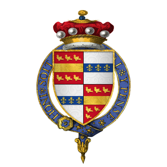 John Beauchamp, 1st Baron Beauchamp (fifth creation) - Arms of Sir John Beauchamp, Lord Beauchamp of Powyk, KG