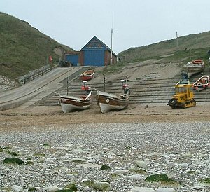 Coble - Three cobles at North Landing, Flamborough Head