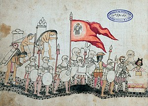 Aztec Empire - Codex Azcatitlan depicting the Spanish army, with Cortez and Malinche in front