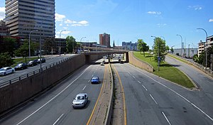 Highway revolts - The Cogswell Interchange in Halifax, Nova Scotia, the only remnant of a downtown highway cancelled due to public protest