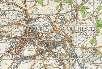 Colchester - A map of Colchester from 1940.