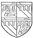 Fig. 692.—Arms of William Le Scrope, Earl of Wiltes (d. 1399): Quarterly, 1 and 4, the arms of the Isle of Man, a label argent; 2 and 3, azure, a bend or, a label gules. (From Willement's Roll, sixteenth century.)