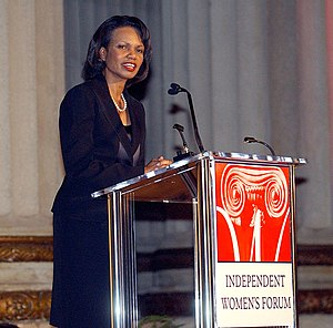 "Independent Women's Forum - Condoleezza Rice speaking to an IWF audience in 2006 after receiving the organization's ""Woman of Valor"" award."