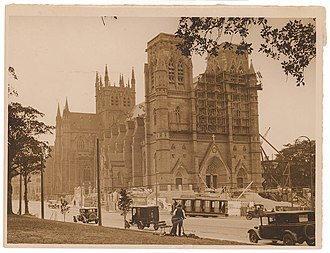 St Mary's Cathedral, Sydney - Construction of St. Mary's Cathedral, 1920s. The spires would not be added until the 2000s.