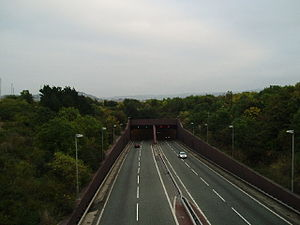 A55 road - Approaching the tunnel from the west.