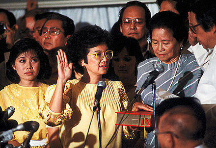 Corazon Aquino, widow of the assassinated opposition leader Benigno Aquino Jr., takes the Oath of Office on February 25, 1986 Corazon Aquino inauguration.jpg
